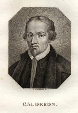 Spanischer Dramatiker. Punktier-Kupferstich von F.Fleischmann.: Calderon, Pedro -
