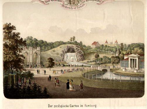 Delicieux Der Zoologische Garten In Hamburg. (Bärenzwinger. Wasserfallgrotte.  Stelzvogelhaus). Kolorierte .