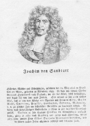 Deutscher Historienmaler und Schriftsteller. Lithographie von Tianek.: Sandrart, Joachim von