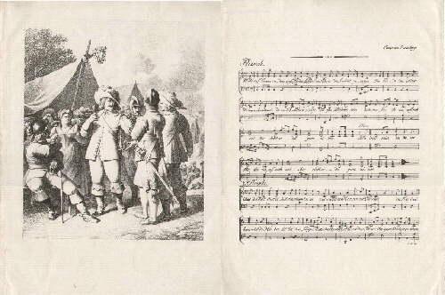 Reiterlied. SteinDruck. Mit einer lithographierten Tafel (Wallensteins: Schiller, Friedrich -