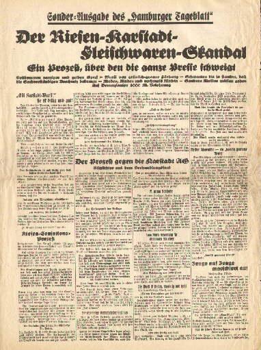 Der Riesen-Karstadt-Fleischwaren-Skandal. Ein Prozeß, über den die: Karstadt