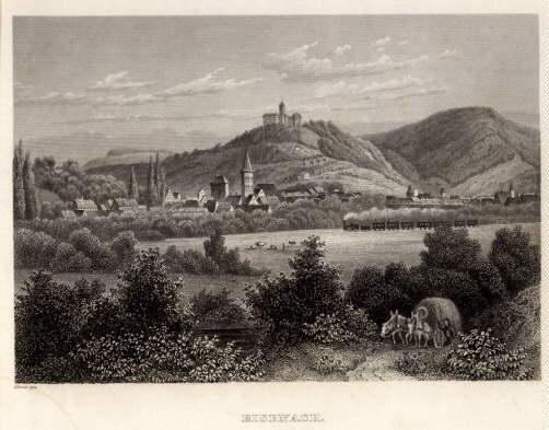 Gesamtansicht. Stahlstich nach Ahrens im Bibliographischen Institut.: Eisenach -