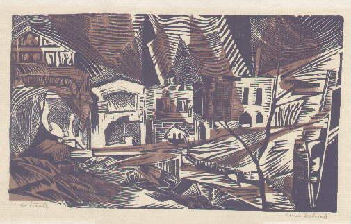 """Kloster Sumela"""". Original-Farbholzschnitt von Anna Andersch Marcus,: Andersch - Marcus,"""