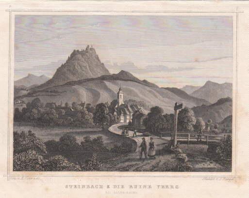 & die Ruine Yberg. Stahlstich von J.Riegel: Steinbach
