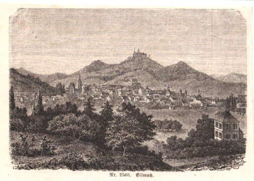 Gesamtansicht. Holzstich aus Spamer`s illustriertem Konversationslexikon.: Eisenach -