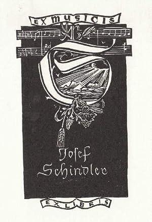 Exlibris (Ex musicis) für Josef Schindler. Holzschnitt: Hofer, Toni -