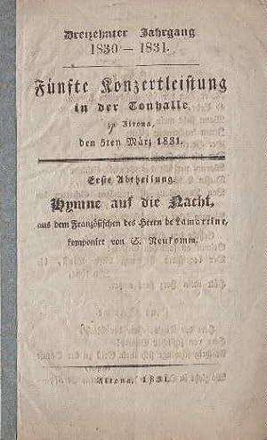 Dreizehnter Jahrgang 1830-1831. Fünfte Konzertleistung in der: Tonhalle -
