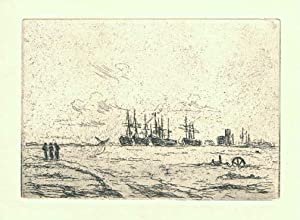 Oplagte Skibe i Sydhavnen. Originalradierung von Johan: Rohde, Johan (1856