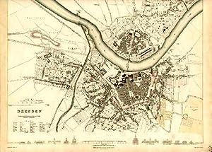 Stadtplan. Stahlstich von W.Henshall nach W. B. Clarke mit etwas Kolorit.: Dresden -
