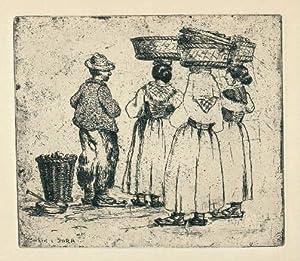 Bönder paa Market i Sora. Originalradierung von: Rohde, Johan (1856