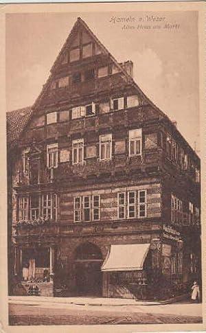 Altes Haus am Markt. Ansichtskarte in bräunlichem: Hameln a.Weser -