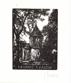 Exlibris für A.Martin. Holzschnitt von Jocelyn Mercier,: Mercier, Jocelyn -