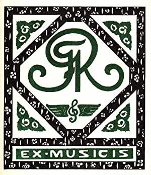 Exlibris (Ex musicis) für F.R. Holzschnitt von: Wolf, A. -