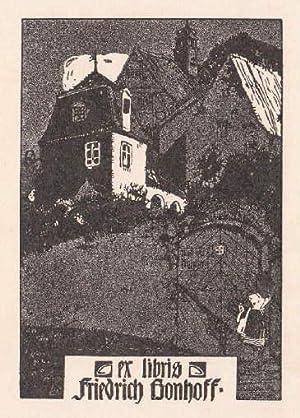 Exlibris für Friedrich Bonhoff. Klischéedruck von Josef: Engelhart, Josef -