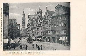 Untere Maximilianstrasse. Ansichtskarte in Lichtdruck. Ungelaufen.: Augsburg -