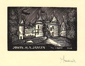 Exlibris fürJohan H.A. Jansen. Holzschnitt von Jocelyn: Mercier, Jocelyn -