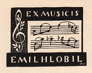 Exlibris für Emil Hlobil (Ex Musicis). Holzschnitt.: Unbekannt -