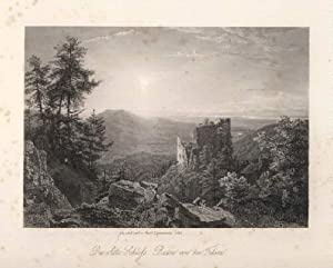 Das alte Schloß Baden von den Felsen.: Baden - Baden