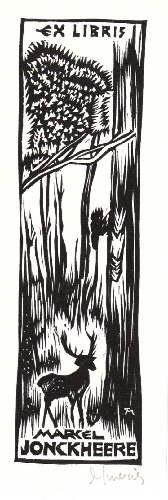 Exlibris für Marcel Jonckheere. Holzschnitt von Jocelyn: Mercier, Jocelyn -