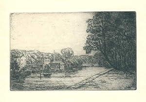 Kanalen i Lübeck. Originalradierung von Johan Rohde.: Rohde, Johan (1856