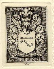 Exlibris für Poul Jensen. Original-Kupferstich von Fr.Britze.: Britze, Fr. -