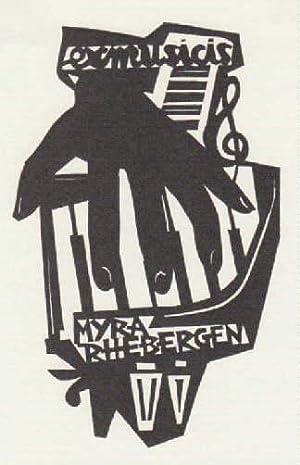 Exlibris für Myra Rhebergen (Ex musicis). Holzschnitt: Battermann, Jan -
