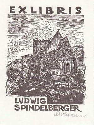 Exlibris für Ludwig Spindelberger. Holzschnitt von Leopold: Hofmann, Leopold -