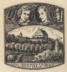 Exlibris für Max Spörrer.Klischéedruck von Richard Wiebel,: Wiebel, Richard -