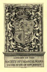 Exlibris der Library of the Society of Colonial Wars in the State of New Jersey. Kupferstich von ...