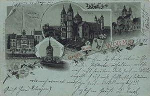Ansichtskarte in Lithographie, auf blau gedruckt, mit: Worms -