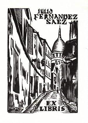 Exlibris für Julio Fernandez Saez. Holzschnitt von: Mercier, Jocelyn -