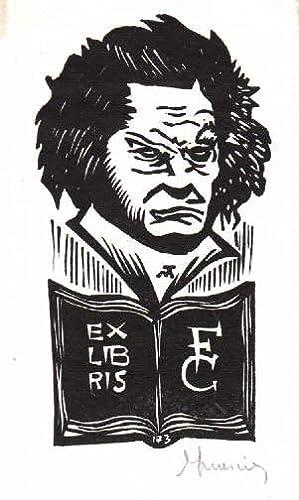 Exlibris für F.C. (F.Carbonara). Holzschnitt von Jocelyn: Mercier, Jocelyn -