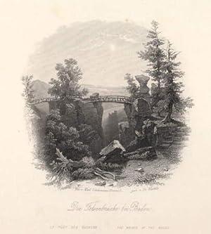 Die Felsenbrücke bei Baden. Stahlstich auf aufgewalztem: Baden - Baden