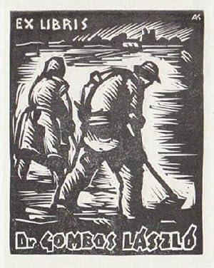 Exlibris für Lászlo Gombos. Holzschnitt von Karoly: Andruskó, Károly -