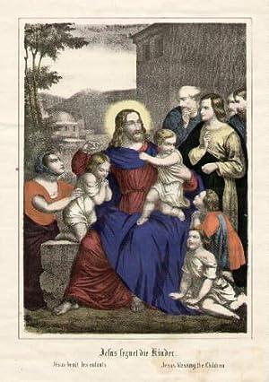 jesus segnet die kinder. jesus benit les enfants. jesus blessing the children. kolorierte