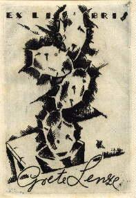 Exlibris für Grete Lenze. Original-Radierung von E.A.Ahrens.: Ahrens, E.A. -