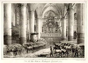 Die St.Petri Kirche in Hamburg als Pferdestall 1814. der Natur gez. v. P. Suhr in Hamburg (...
