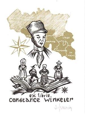 Exlibris für Constance Winkeler. Zweifarbiger Holzschnitt von: Mercier, Jocelyn -
