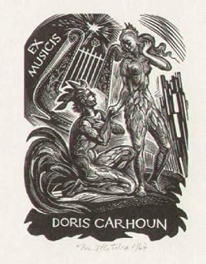 Exlibris (Ex Musicis) für Doris Carhoun. Holzschnitt: Kotrba, Emil -