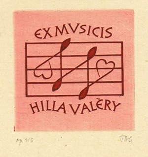 Exlibris für Hilla Valèly (Ex Musicis). Kupferdruck: Tag, Gerhard -