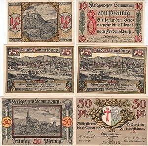 Kriegsnotgeld der Stadt Hammelburg. 3 farbige Scheine: Hammelburg -