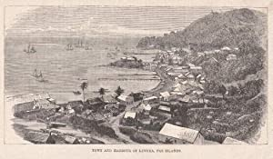 Town and Harbour of Levuka, Fiji Islands. Holzstich.
