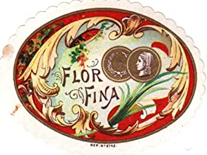 Flor Fina. Farbige Lithographie im Oval mit Goldprägung.