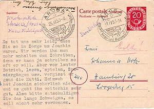 Antwortkarte. 20 Pfennig. Abgestempelt Arosa (Schweiz) –: Postkarte mit Antwortkarte