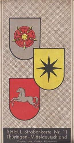 Shell-Straßenkarte Nr.11. Thüringen - Mitteldeutschland. Zweifach gefaltete: Thüringen -