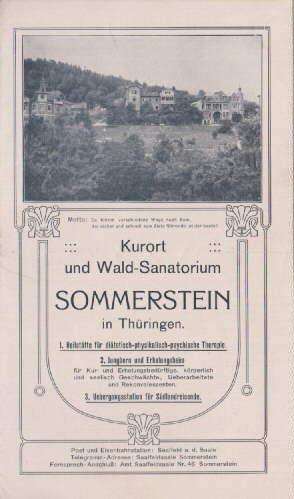 Kurort und Wald-Sanatorium Sommerstein i. Thüringen. Faltprospekt: Sommerstein -