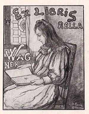 Exlibris für Rella Wagner. Klischeedruck von Benjamin: Linnig, Benjamin -