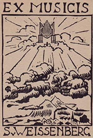 Exlibris für S.v.Weissenberg (Ex Musicis). Holzschnitt von: Weissenberg, G.v. -