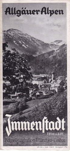 Allgäuer Alpen. Schnellzugstation München-Lindau. Faltprospekt mit 8: Immenstadt -