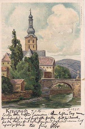 Kirche und Brücke. Ansichtskarte in farbiger Lithographie: Bad Kreuznach -